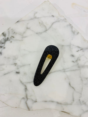 Oval Hair Clip Black Sparkle