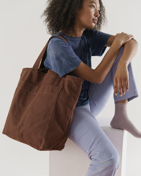 Giant Pocket Tote Washed Brown