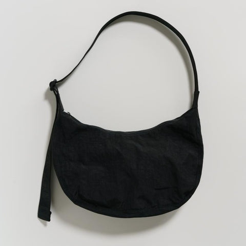 Medium Nylon Crescent Bag | Black