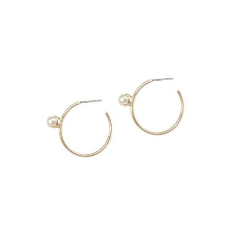 Pearl Floret Hoops Small - Gold