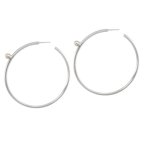 Pearl Floret Hoops | Large | Rhodium Dipped