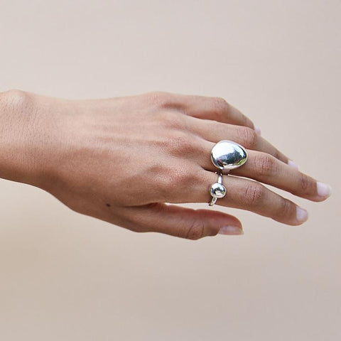 Galina Ring | Small | Rhodium Dipped