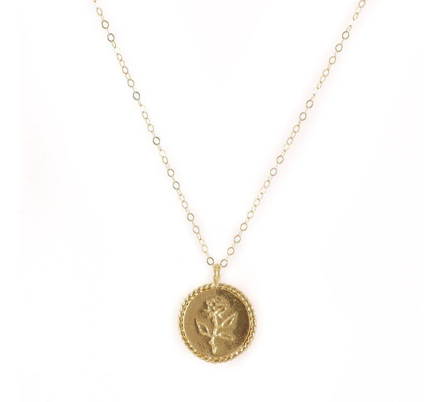 Rose Coin Necklace, Gold