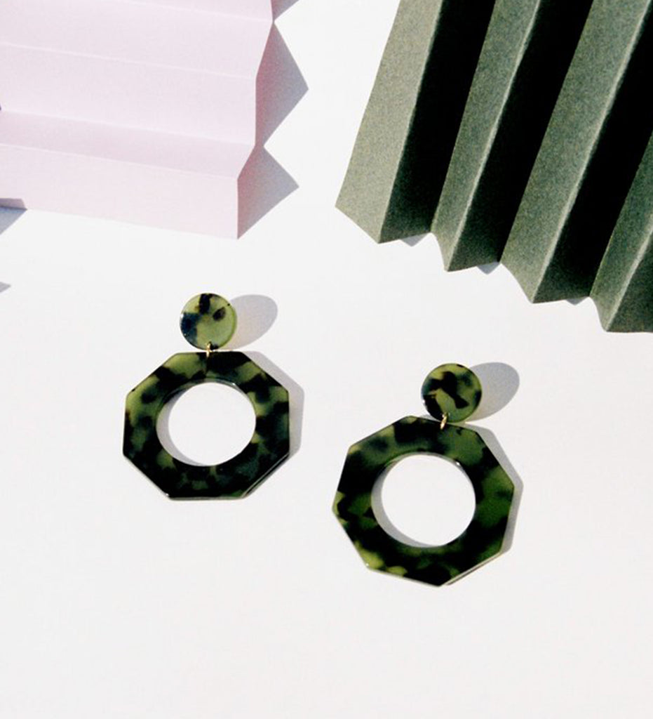 Clef Earrings, Green