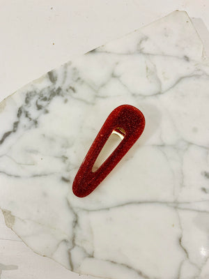 Oval Hair Clip Red Sparkle