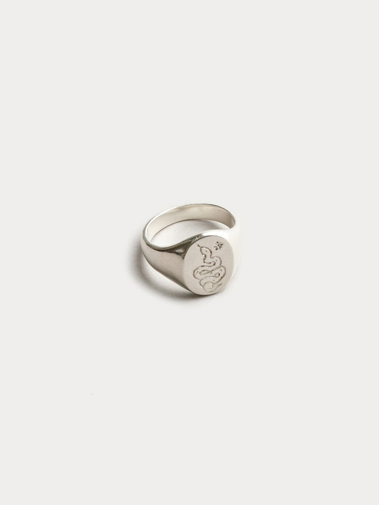 Ophidian Signet Ring Silver 7