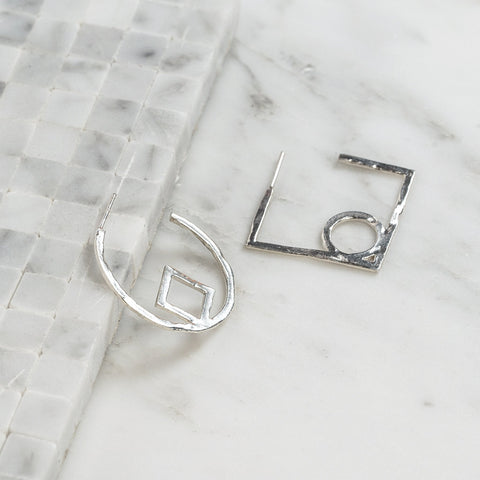 Circle Square Earrings Silver