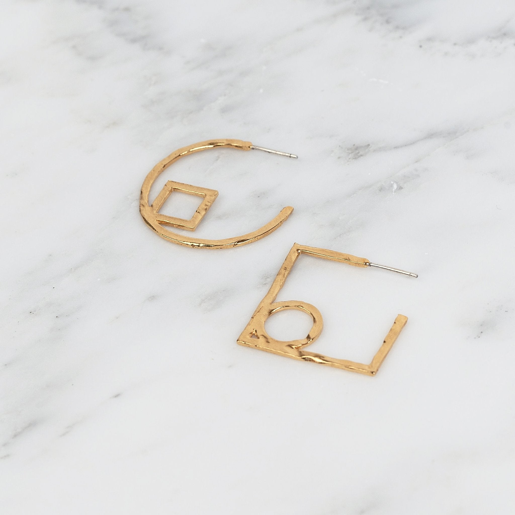 Circle Square Hoops Gold