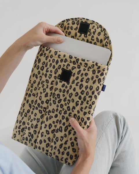 Puffy Laptop Sleeve | Honey Leopard