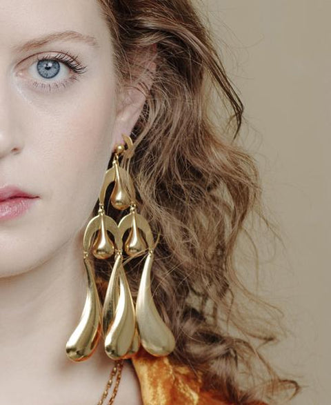 Big Drop Earrings Gold