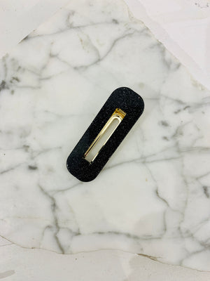 Square Hair Clip Black Sparkle