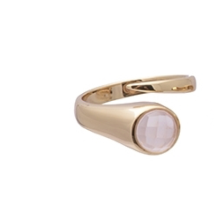 Emerge Ring Gold Rose Quartz | One Size (6-8 adjustable)