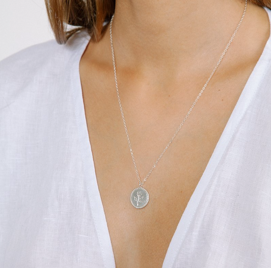 Rose Coin Necklace, Silver