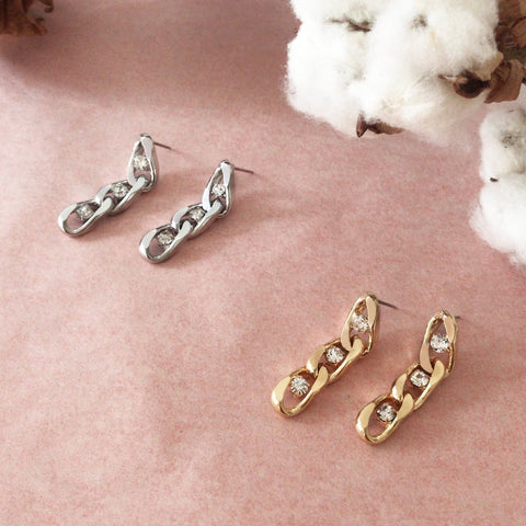 Twin Flame Chain Studs Short Silver