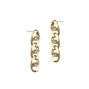 Twin Flame Chain Studs Short Gold