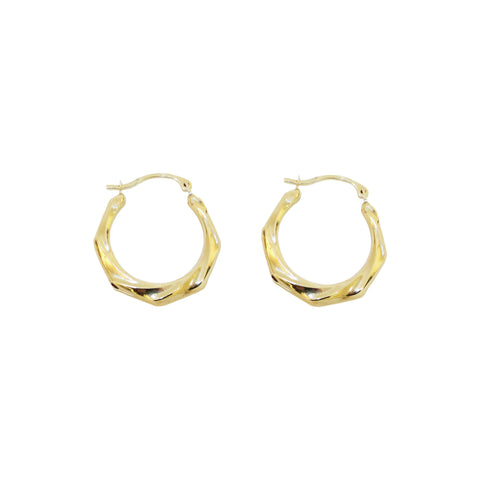 Twist Clip Hoop 10K Gold