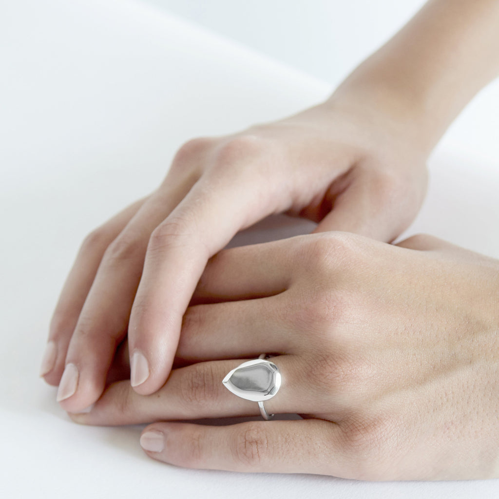 Pear Ring Silver