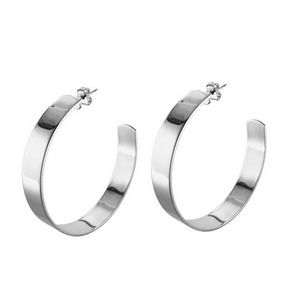 Large Liberty Hoops, Silver