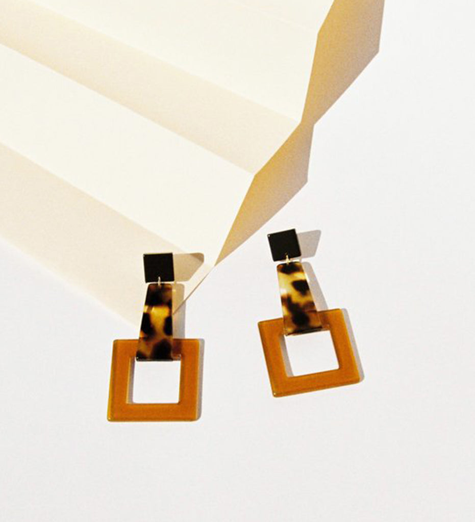Girafe Earrings, Brown