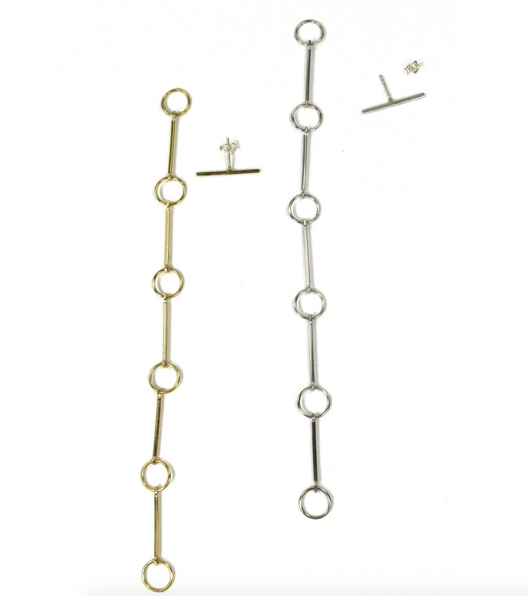 Detachable T Earrings, Gold