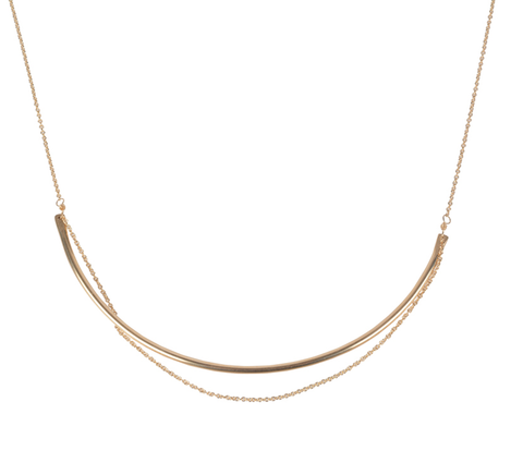 Curve Necklace-Jewelry-Fresh Tangerine-Gold-ZANE