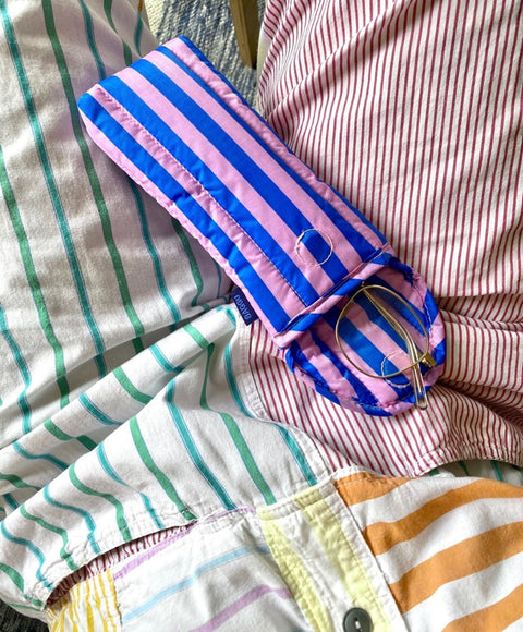 Puffy Glasses Sleeve | Stripe-Pink and Blue