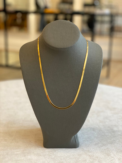 Flat Bone Silver Dipped 14K Gold Necklace