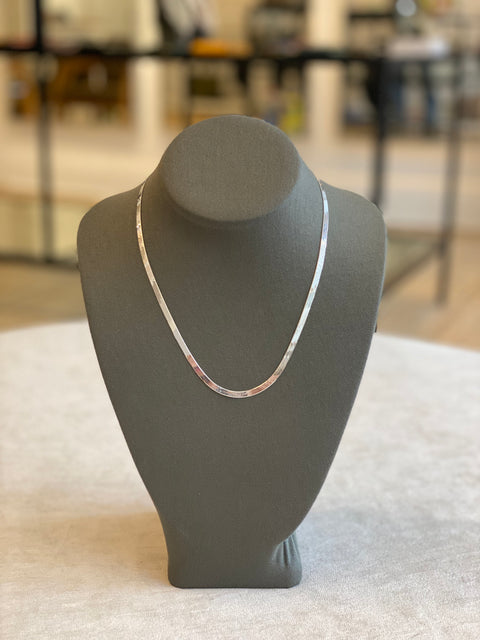 Flat Bone Sterling Silver Necklace