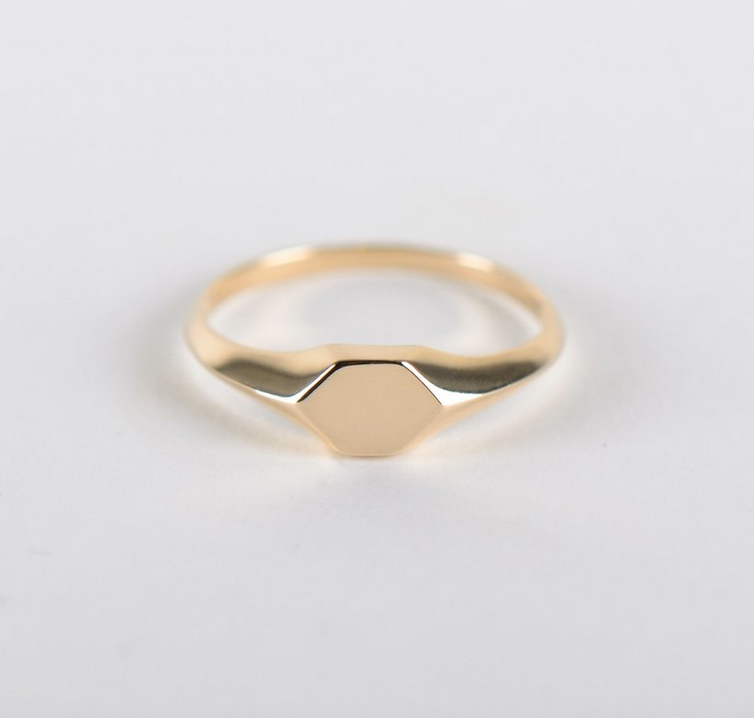 Alveole Mini Signet 14K Yellow Gold