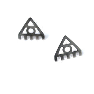 Delta Triangle Earrings, Silver