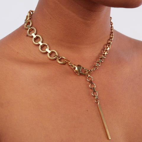 Textured Ring Chain Gold