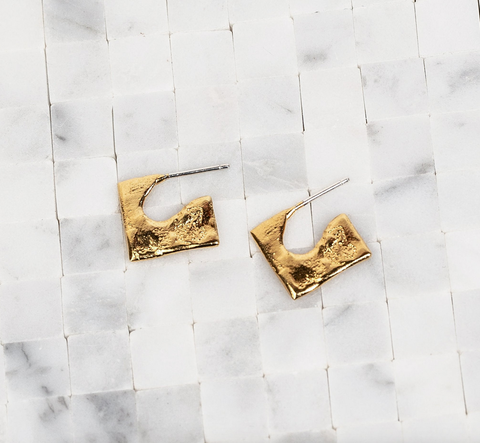 Mini Square Studs Gold