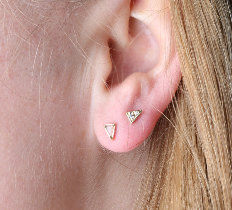 Mismatched Triangle Studs, Pink Opal
