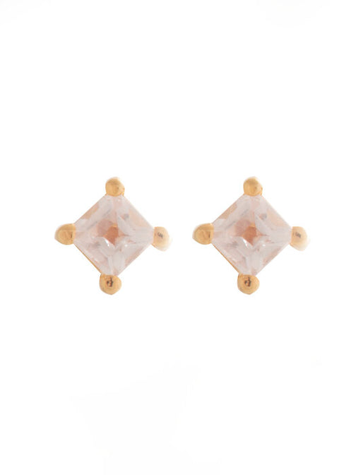 Cassie Studs Gold Rose Quartz