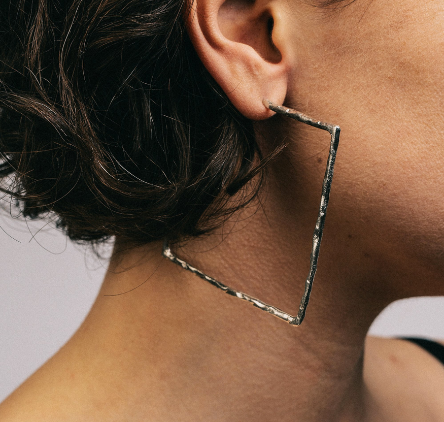 Textured Square Hoops Silver