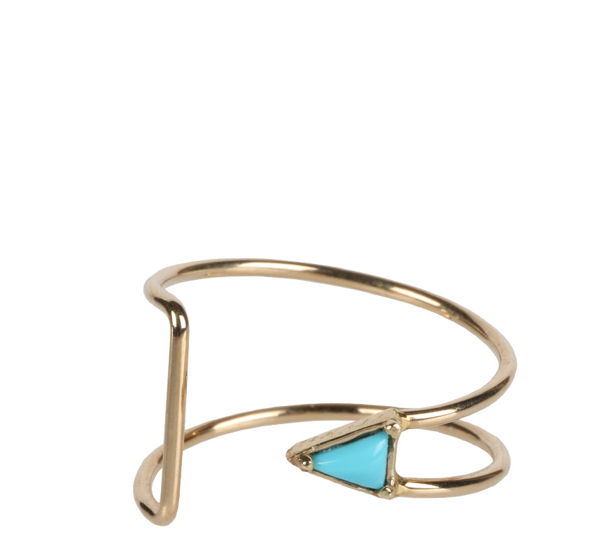 Curved Triangle Ring, Turquoise