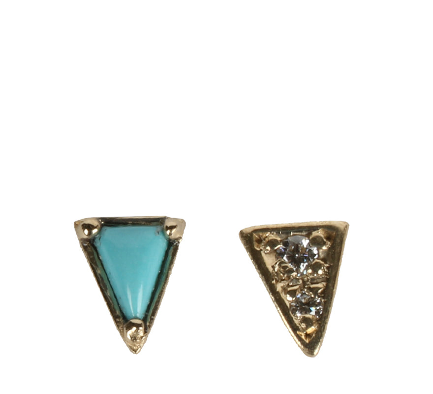 Mismatched Triangle Studs, Turquoise
