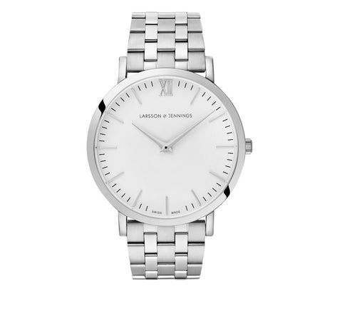 Larsson and Jennings-LUGANO VASA 40MM SILVER/WHITE-Watches-White-ZANE-Toronto-Canada