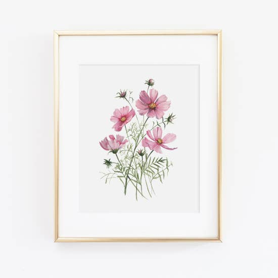 Pink Cosmos Watercolor Art Print