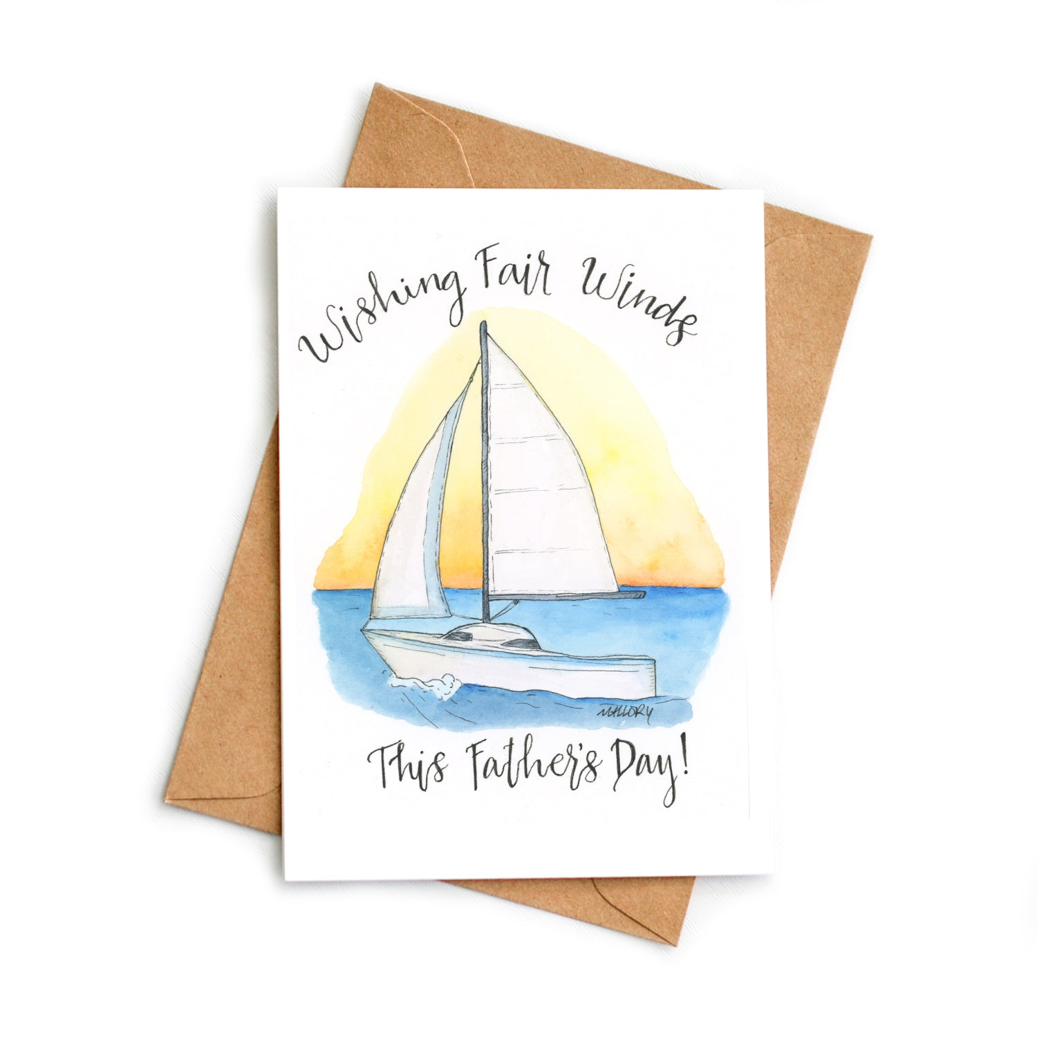 Sailboat Father's Day card, card for Father's Day, card for dad, handmade card for dad