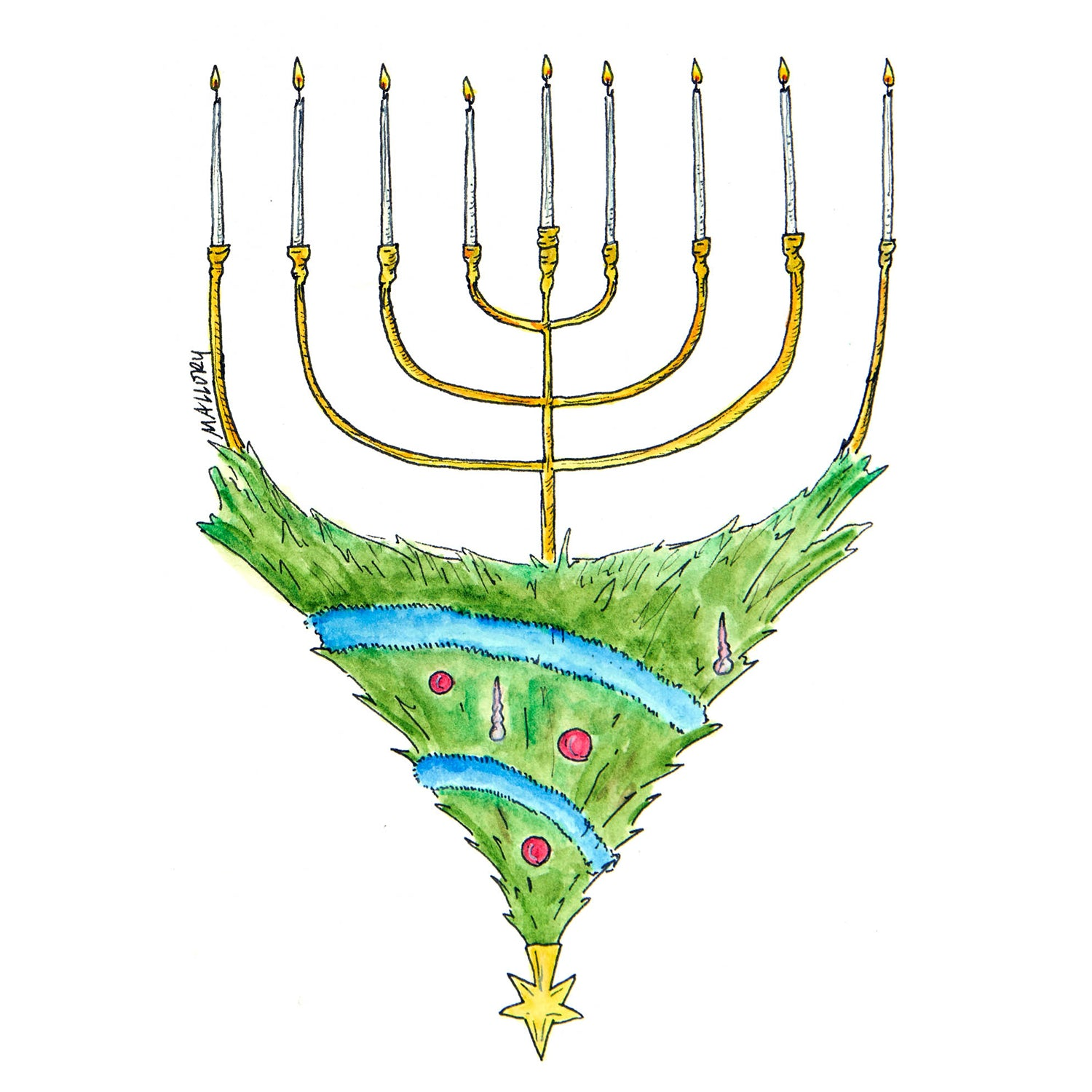 Blended Holiday Hanukkah Card (Menorah)