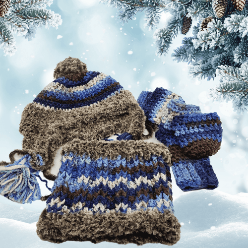 Ultra Luxury Eskimo Hat, Mittens and Neck Warmer Set LuckyKnitsShop