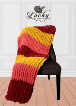 Load image into Gallery viewer, Jingle Jangle Hand Knit Chunky Blanket Blankets Luckyknitsshop