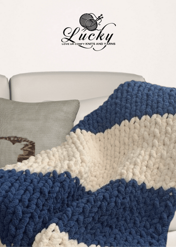 Navy Blue & White Hand Knit Chunky Blanket Blankets Luckyknitsshop