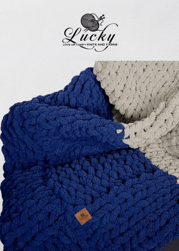 Navy Blue & Grey Hand Knit Chunky Blanket Blankets Luckyknitsshop