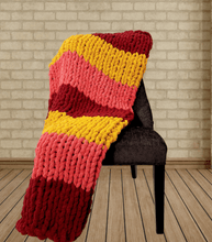 "Load image into Gallery viewer, Blanket/ Throw ""October Leaves"" Hand Knit Chunky Blankets Luckyknitsshop"