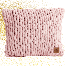 Load image into Gallery viewer, Hand Knit Chunky Yarn Cushion Pink Home Décor Luckyknitsshop