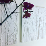 'Bleeding Heart, Lavender and Lady's Mantle' Large Cast by Botanical Art by Diane De Roo