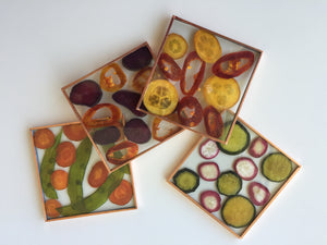 'Vegetable Slice Coasters' by Botanical Art by Diane