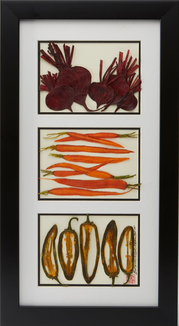 'Beets, Carrots, and Peppers' by Botanical Art by Diane De Roo